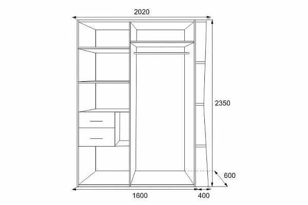 Высота шкафа купе: максимальная, стандартная по ГОСТу, размеры дверей по нормам